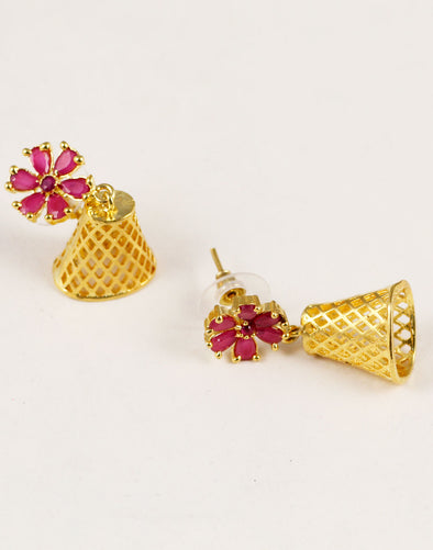 Red Stone Jaali Work Jhumki Earrings