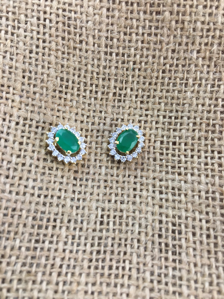 c175386de GREEN STONE AMERICAN DIAMONDS STUD EARRINGS | KaratCart.com