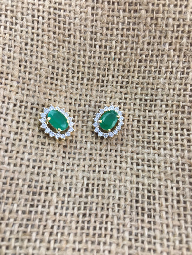 GREEN STONE AMERICAN DIAMONDS STUD EARRINGS