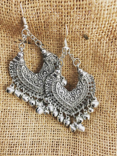 ANTIQUE OXIDIZED AFGHANI TRIBAL EARRINGS