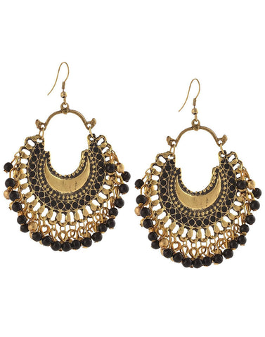 Afghani Tribal Oxidised Fashion German Silver Beaded Chandbali Hook Dangler Stylish Fancy Party Wear Earrings