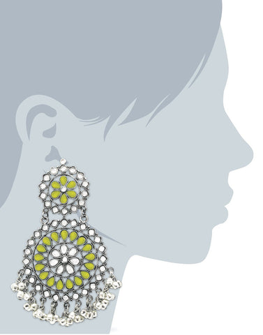 Lemon Yellow Afghani Tribal Oxidised Dangler Stylish Fancy Party Wear light Weight Long Earrings