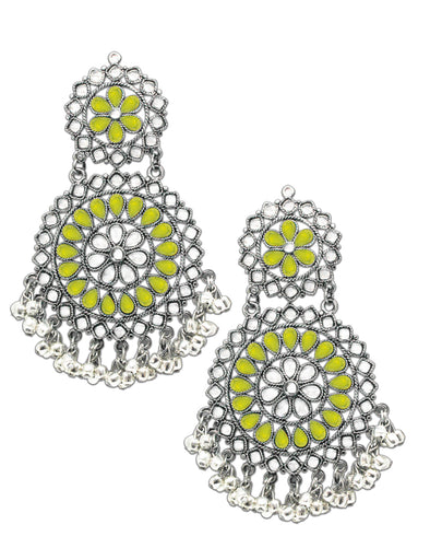 Lemon Yellow Afghani Tribal Oxidised Dangler Stylish Fancy Party Wear light Weight Earrings