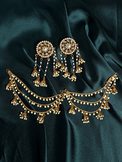 Kundan Gold Jhumki Drop Kaanchain Earrings
