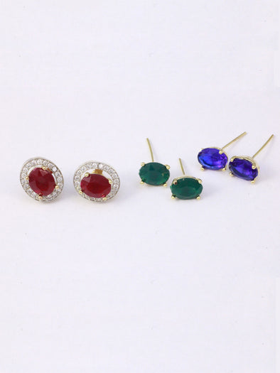 American Diamond Crystal Changeable Stone Stud Earrings