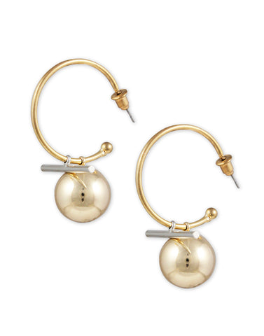 Metal GoldPlated Ball Drop Half Hoop Earrings