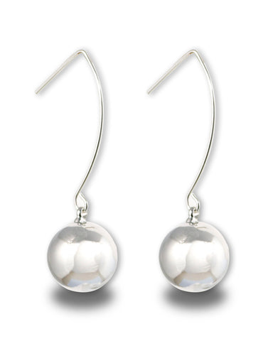 Rhodium Metal Ball Drop Earrings
