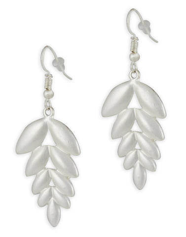 Silver Leaf Drop Earrings For Women