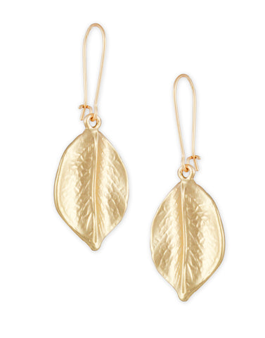 Gold Metal Leaf Drop earrings