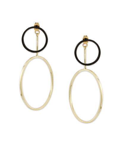 Gold Metal Geometrical Drop Crystal Earrings