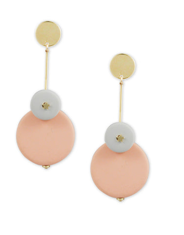 Gold Metal Pink Drop Earrings
