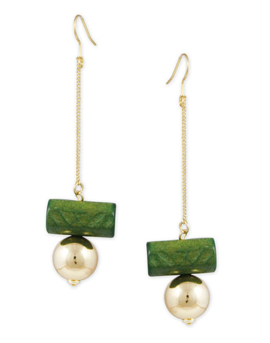 Gold Metal Green Drop Crystal Earrings