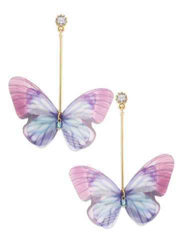 Gold Metal Crystal Butterfly Drop Earring For Women