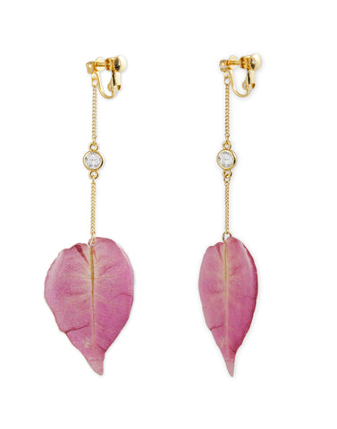 Metal Gold Pink synthetic Leaf Drop Earrings For Women