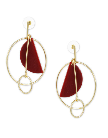 Metal Gold Red Stone Geometrical Earrings For Women