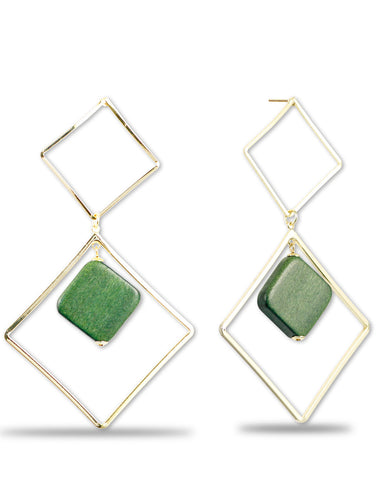 Gold Metal Mate Green Geometrical Earrings For Women