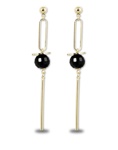 Metal Gold Black Crystal Dangler Earrings