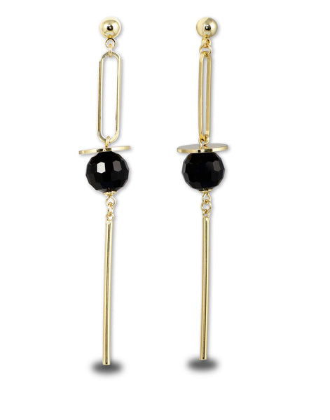 Metal Gold Black Crystal Long Drop Earrings