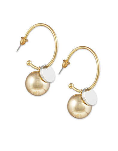 Metal GoldPlated Ball Drop Half Hoop Crystal Earrings