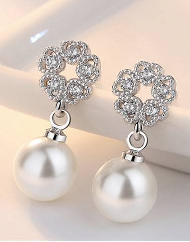 Platinum Plated Austrian Crystal White Pearl Drop Earrings