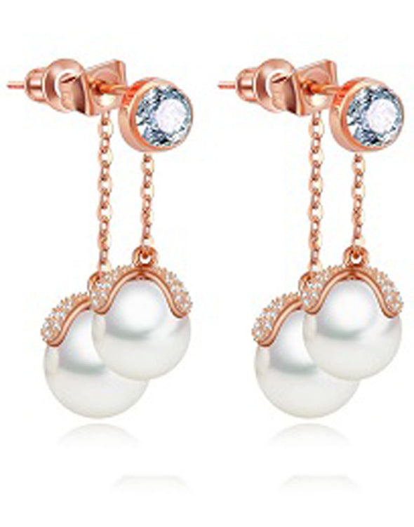 Premium Rose GoldPlated Austrian Crystal White Pearl Drop Earrings