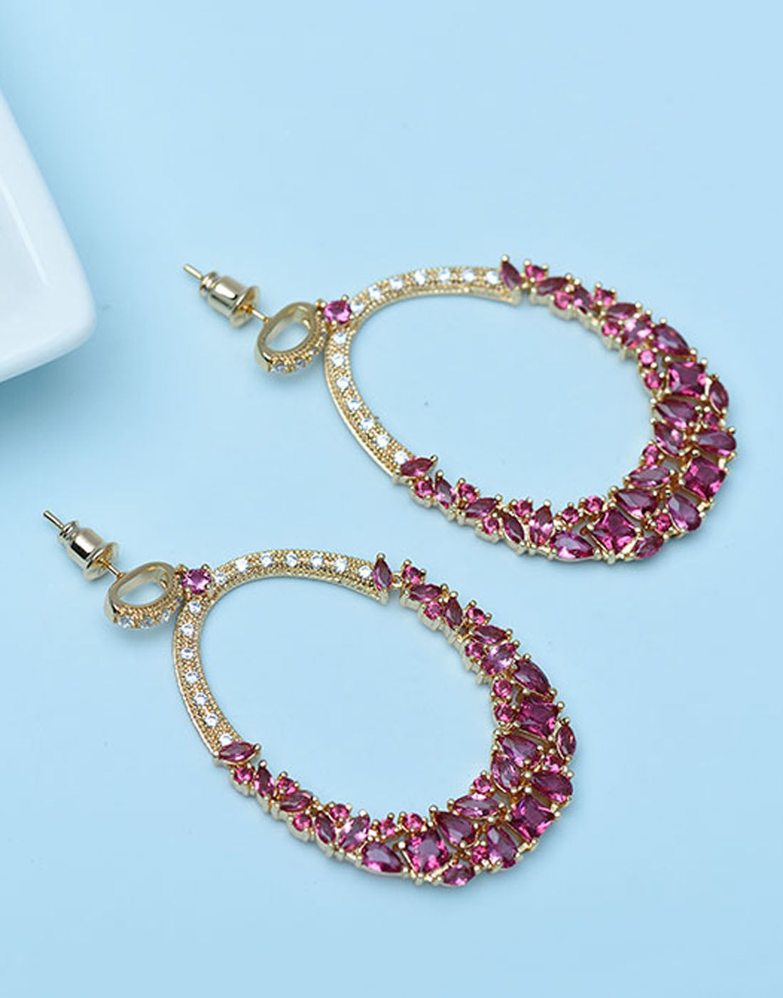 GoldPlated Red Austrian Crystal Dangle Earrings