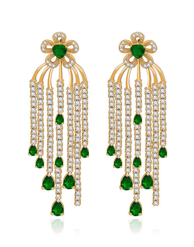 Premium GoldPlated Green Cubic Zirconia Green Tassel Crystal Earrings