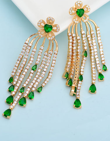 Premium GoldPlated Green Cubic Zirconia Long Earrings