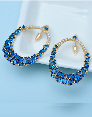 Premium GoldPlated  Blue Cubic Zirconia Dangle Earrings