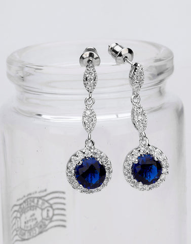 Premium Platinum Plated Blue Cubic Zirconia Drop Earrings