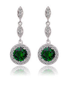 Premium Platinum Plated Green Cubic Zirconia Drop Earrings