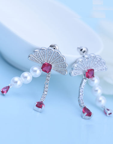 Platinum Plated Premium Austrian Crystal Red Drop Earrings