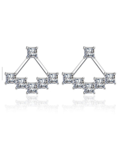 Platinum Plated Austrian Crystal Cuff Earrings