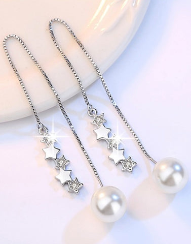 Platinum Plated Austrian Crystal Drop Earrings