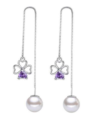 Platinum Plated Austrian Crystal Purple Floweret Drop Earrings
