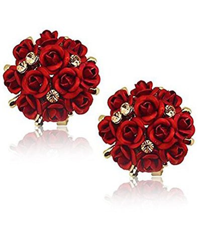 GoldPlated Red Flower Shape Resin Fancy Party Wear Stud Earrings