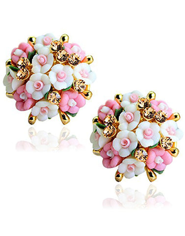 GoldPlated White and Pink Flower Shape Resin Fancy Party Wear Stud Earrings