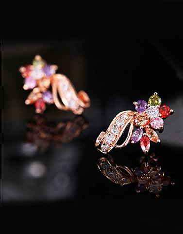 18K Rose Gold Plated Swiss Cubic Zirconia Multi Color Stud Earrings