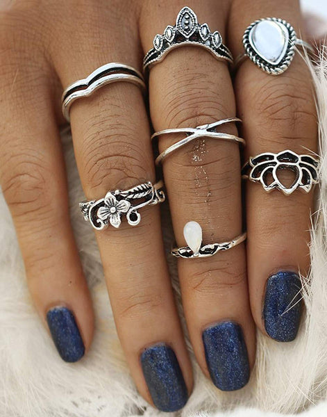 Antique Oxidised Silver Colour Bohemian Midi Rings