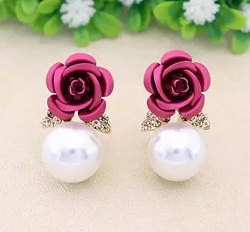 GoldPlated White Pearl Flower Shape Resin Fancy Party Wear Stud Earrings For Women