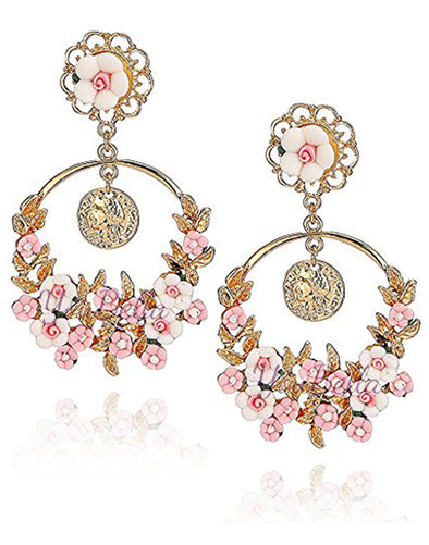 GoldPlated White and Pink Flower Shape Resin Fancy Party Wear Earrings