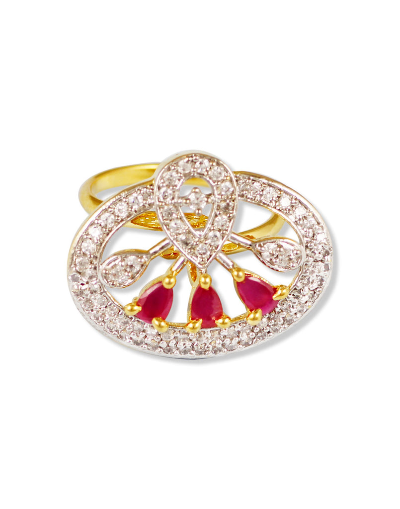 GoldPlated Red American Diamond Adjustable Ring