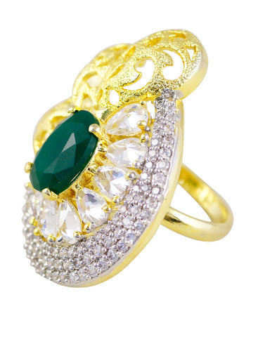 GoldPlated Green American Diamond Adjustable Ring
