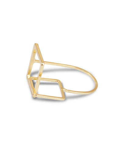 Gold Metal Geometrical Ring For Women