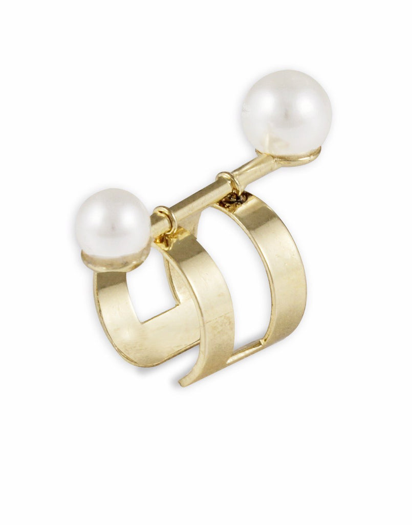 Metal Gold White Pearl Adjustable Ring