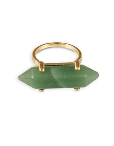 Gold Metal Green Stone Ring For Women