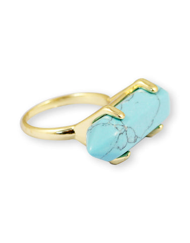 Gold Metal Blue Turquoise Ring