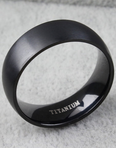 Titanuium Black Band Ring For Men