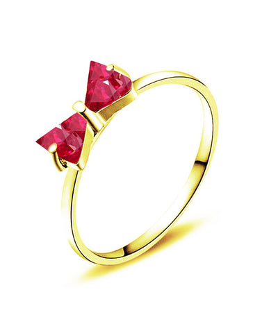 Gold Plated Trendy Elegant Austrian Red Crystal BOW Cut Ring