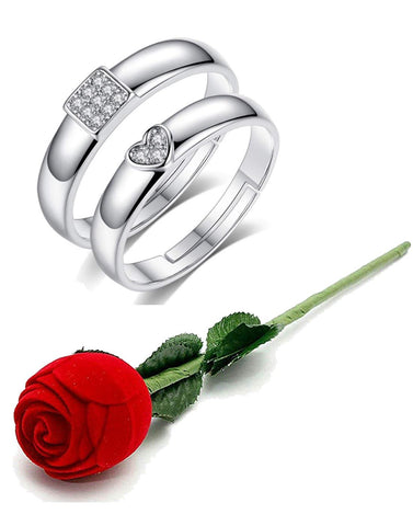 Valentine Gift by Karatcart Platinum Plated Elegant Classic Crystal Adjustable Couple Ring for Women